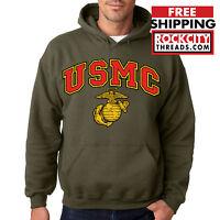 USMC MARINES HOODIE MILITARY GREEN Marine Semper Fi Corps Pullover Sweatshirt US