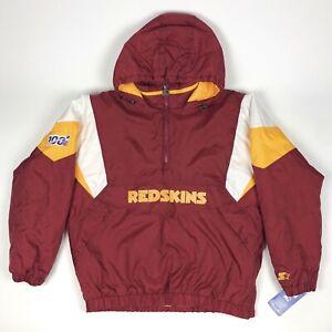 Starter Vintage Washington Redskins NFL Mens Large Insulated 1/2 Zip Coat Jacket