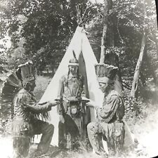 Vtg Keystone Magic Lantern Slide Photo Indian Maiden Hiawatha Two Braves