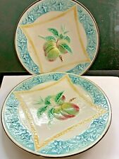 More details for pair of  vintage  french majolica  matching plates   fruit design  c. 1910