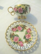 Vintage Royal Sealy Lusterware Tea Cup and Saucer Roses Gold Gilt Tri Footed Cup