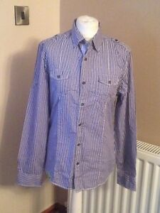 River Island blue striped shirt long sleeves size small cotton used