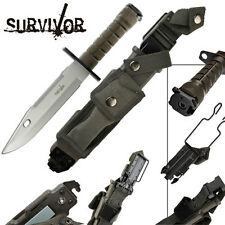Survivor Special Ops Knife Military-style Bowie Silver Sawback Molle Load Clip