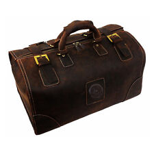 Mens Genuine Leather Wild Travel Overnight Weekend Luggage Duffle Gym Bags Tote