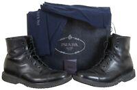 Prada Mens Black Leather Cap Toe Calzature Uomo Pull Up Boots 2TG002 Size 9.5