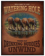 Wild Wings Welcome to Our Watering Hole Tin Sign Horses #8260