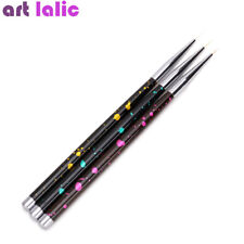 3Pcs Nail Art French Stripes Lines Flower Painting Drawing Liner Brush Pen