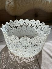 Vintage style white starched lace bathroom storage basket shabby chic style