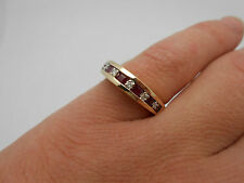 Stunning 14K Solid Gold Natural Red Ruby & Diamond Band Ring Size 7