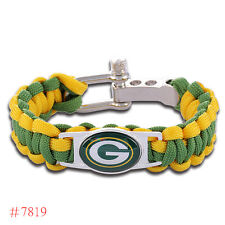 "Greenbay Packers NFL bracelet Paracord 7""with zinc alloy shackle adjustable"