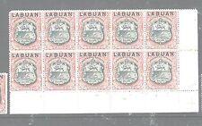 LABUAN (P1606B) 6C ARMS, LION SG 93 BOTTOM MARGIN BL OF 10  MNH