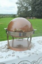 More details for queen anne brass leg lion feet brass copper steel roll top round chafing dish 6l