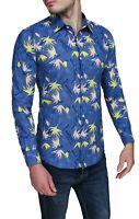 Camicia uomo di lino sartoriale blu casual Hawaiana estiva taglia S M L XL XXL
