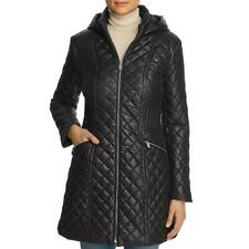 Via Spiga Women's Diamond Quilted Mid-Length Winter Jacket with Attached Hood