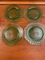 4 Antique Green Diamond Optic Depression Glass Octagonal Vintage Salad Plates