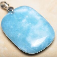 blu caraibi Larimar Diaspro Argento Sterling 925 gancetto 4.4cm CIONDOLO p08343