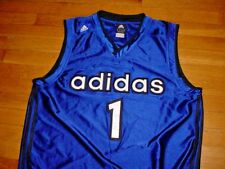 Vintage Adidas Basketball Jersey #1 Royal-Blue/Black Sewn-On Mens XL Stunning!!!