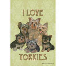 Yorkies, I Love Decorative Flag