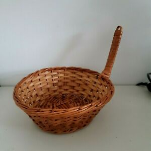 Vintage small round wicker bread basket with carry handle , variety of uses
