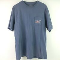 Vineyard Vines USA Flag Whale Pocket Tee T Shirt Men's Size Medium Blue C4