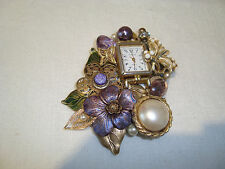 """Beautiful Hand Crafted Recycled Watch/Purple Gold Beaded Brooch/Pin 3.25 x 2.5"""""""
