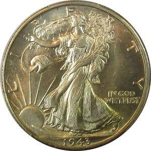 1943 D WALKING LIBERTY HALF DOLLAR MS64 PCGS GREAT STRIKE W/BEAUTIFUL RIM TONING