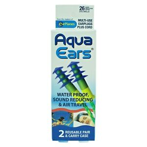 Aqua Ears Earplugs With Cord - Waterproof, Sound Reducing & Air Travel - 2 Pairs