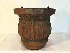 Antique 1900s Cast Iron Street Light Base Shade Fitter Lamp Post Top Fixture Old