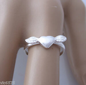 925 Sterling Silver HEART with WINGS ring