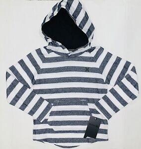NWT Hurley Boys Obsidian Blue Stripe Knit Long Slv Pullover Hoodie Size L 7Y