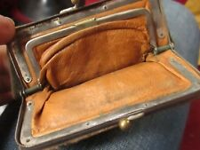"TINY 4x2.5""  True Vtg 1910s 1920s KID LEATHER SNAP COIN PURSE WALLET"