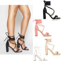 Womens Ladies Block High Heel Sandals Ankle Lace Tie Up Strappy Party Shoes Size