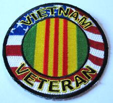 VIETNAM VETERAN AMERICAN FLAG ROUND MILITARY PATRIOTIC BIKER IRON ON PATCH