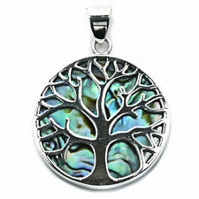 .925 Solid Sterling Silver & Abalone Tree of Life Yggdrasill Pendant Pagan P078