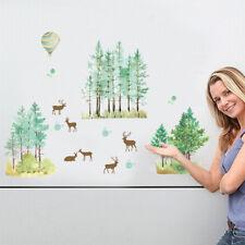 Happy Deer Forest Wall Stickers Cupboard Wardrobe Decal Bar Window Art DecorEP