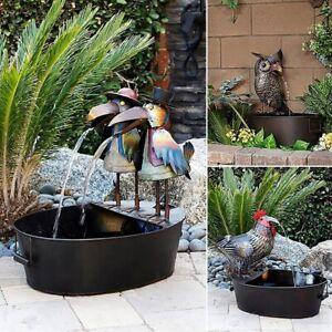 Water Fountain Playful Rustic Look Resin Metal Bird Outdoor Garden Yard Decor