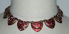 VTG MATISSE Renoir SHIELD Copper Red Enamel Necklace