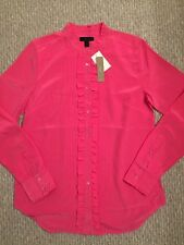 New J CREW Tall Ruffle Silk Button-Up Fuchsia Bloom F9920 $110 Size 6 SOLD-OUT