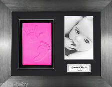 Christening  Baby Girl Clay Dough Handprint & Footprint Kit Brushed Pewter Frame