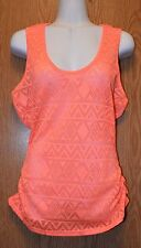 Junior Womens Coral Eye Candy Semi Sheer Tank Top Shirt Size Large NWT NEW