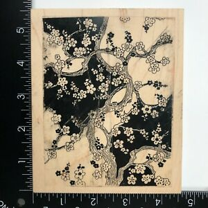 Stamp Out Cute Tree Branch Blossoms Background Wood Mounted Rubber Stamp