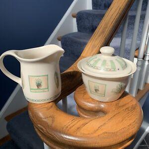 Pfaltzgraff Naturewod Sugar Bowl & Creamer