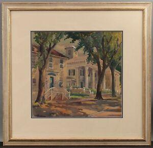 Antique JULIET BURDOIN Watercolor Painting, Gloucester or Rockport Street Scene