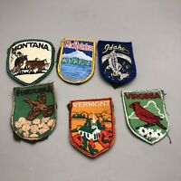 Lot Of 6 Boy Scouts State Badges Vintage Patches BSA Shield Birds Collectibles