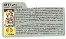 1989 Cobra HEAT Viper v.1 FILE CARD #1 gray filecard bio original GI Joe JTC