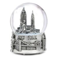 Musical Silver New York City Skyline Snow Globe 5.5 Inch NYC Snow Globes