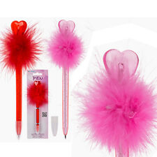 HEART FEATHER FUR PEN WRITING STATIONARY NOVELTY GIRLS CUTE OFFICE SCHOOL NEW