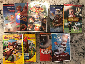 Lot 9 Kids DVD Curious George 1 & 2, Dr Seuss, Cat In The hat, Horton, Disney