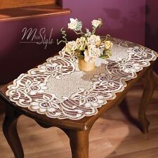 "Lace Table Runner Natur Golden beige Oval High Quality 24"" x 47"" (60cm x 120cm)"
