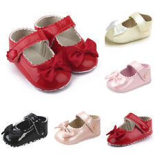 Toddler Baby Girl Bowknot Leather Shoes Sneaker Anti-slip Soft Sole Infant Shoes